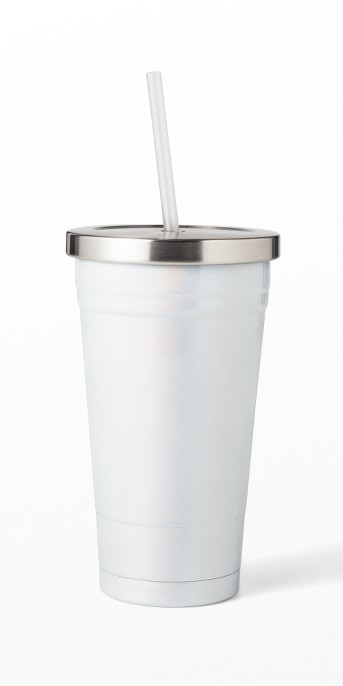 23oz Plastic Iridescent Tumbler with Lid and Straw - Sun Squad™