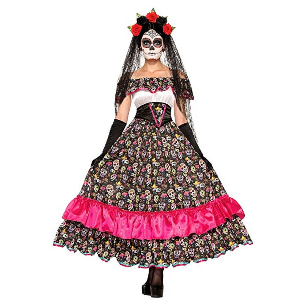 Womens Day Of Dead Senorita Costume (M/L), Pink