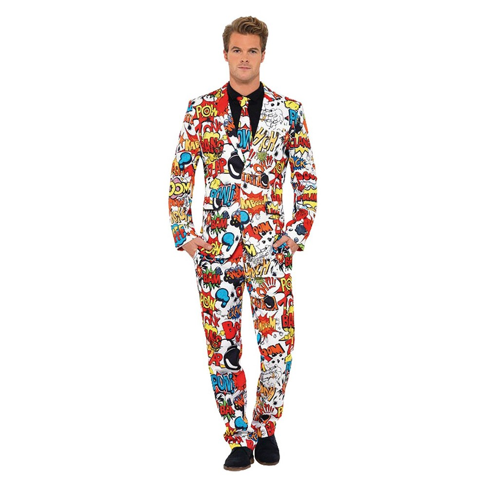 Mens Comic Strip Suit Costume - Large, Red