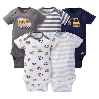 Gerber® Baby Boys' 5pk Striped Truck Onesies® - Grey/Brown 0-3 M