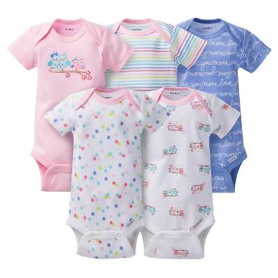 Gerber® Baby Girls' 5pk Owl Onesies® - Pink/Blue 6-9 M