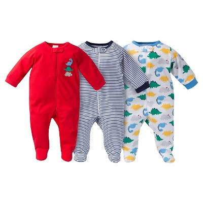 Gerber® Baby Sleep N' Play Footed Sleepers - Dinosaur Print Red 0-3 M