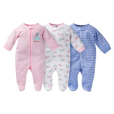 Gerber® Baby Sleep N' Play Full Body Sleepwear - Owl Print Pink 42435 M