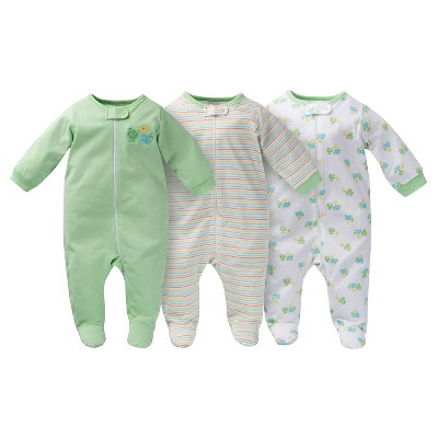 Gerber® Baby Sleep N' Play Footed Sleepers - Frog Print Green 0-3 M