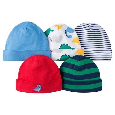 Gerber® Onesies® Boys' 5 pack Caps Set - Dinosaurs Print Red 0-6 M