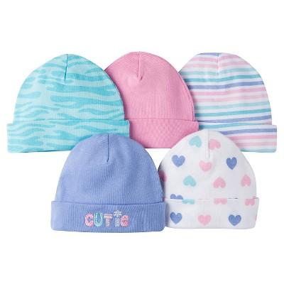 Gerber® Girls' 5 pack Caps Set - Zebra Print Purple 0-6 M
