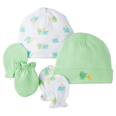 Gerber® 2 pack Caps/Mittens Set - Frog Print Green 0-6 M