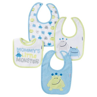 Gerber® Boys' 4 pack Bib Set - Monster Blue One Size
