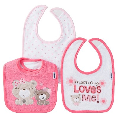 Gerber® Girls' 3 pack Bib Set - Bear Coral One Size