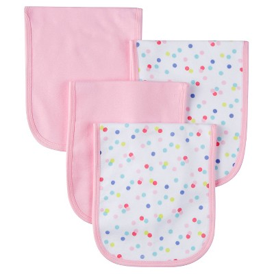 Gerber® Girls' 4 pack Burp Cloth - Owl Print Pink One Size