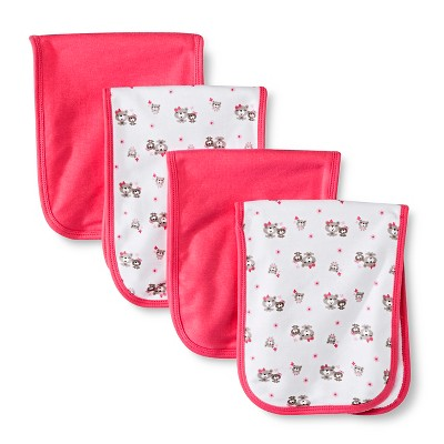Gerber® Girls' 4 pack Burp Cloth - Bear Print Coral One Size