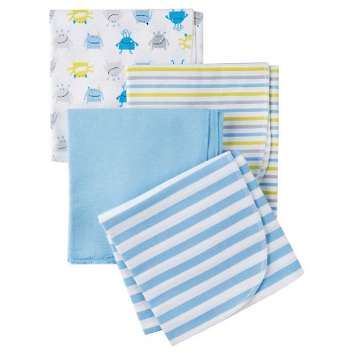 Gerber® Boys' 4 pack Blanket - Monster Print Blue One Size