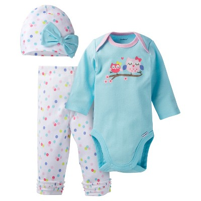 Gerber® Baby Top & Bottom 3 Piece Set - Owl Turquoise 42435 M