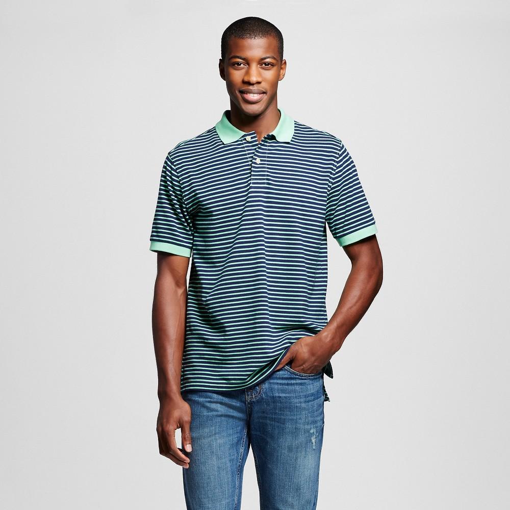 Men's Polo Shirt Green Yarn Dye Stripe XS - Merona, Catmint