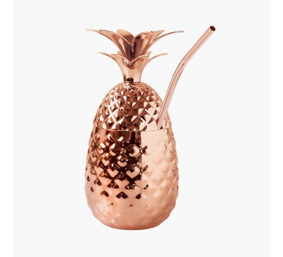 Oggi® Stainless Steel Pineapple Tumbler With Straw 12oz Copper