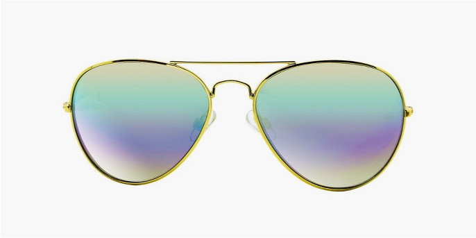 Women's Aviator Sunglasses with Multicolor Lens - Gold