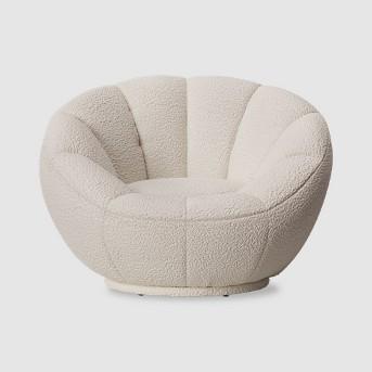 Low-Profile Swivel Tulip Chair White Sherpa - Room Essentials™
