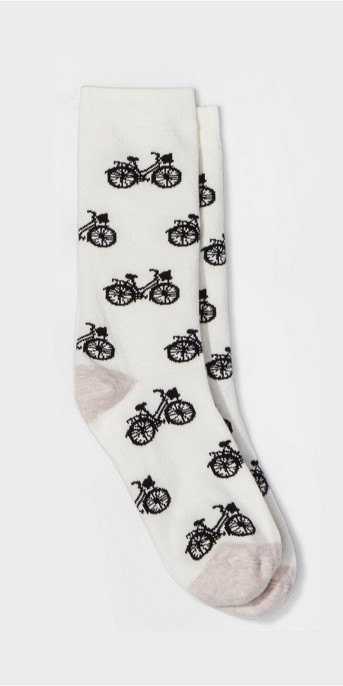 Women's 3pk Crew Socks - A New Day™ Cream Bicycle One Size