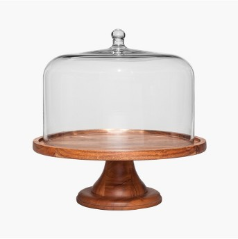 Round Glass & Wood Dessert Stand - Threshold™