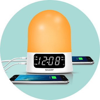 Sunrise Simulator Alarm Clock with Blue Tooth Or USB ports White - Sharp