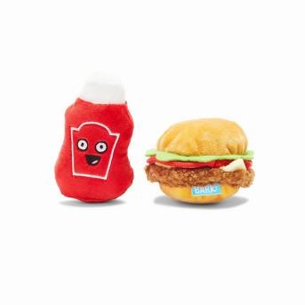 BARK Hamburger and Ketchup Dog Toy - Cookout Burger & Ketchup