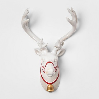 Decorative Wall Sculpture Reindeer - White/Red - Threshold™