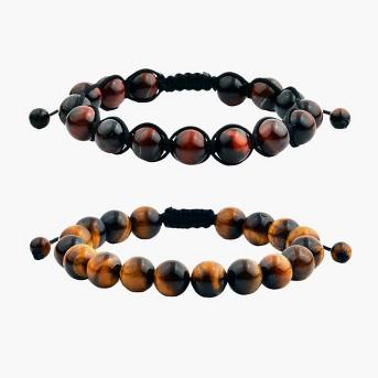 Men's Tiger Eye Polished Bead Adjustable Bracelet