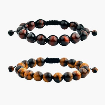 Men's Tiger Eye Polished Bead Adjustable Bracelet