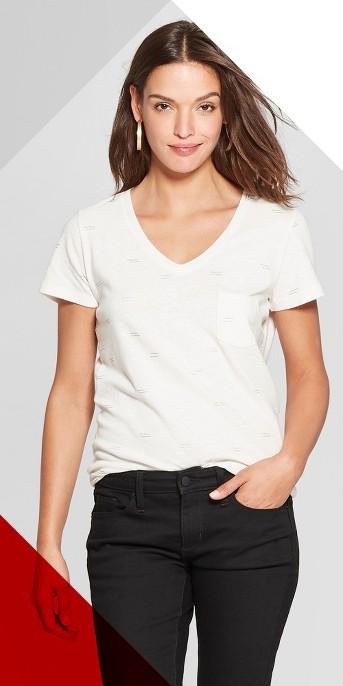 Women's Bow Print Monterey Pocket V-Neck Short Sleeve T-Shirt - Universal Thread™