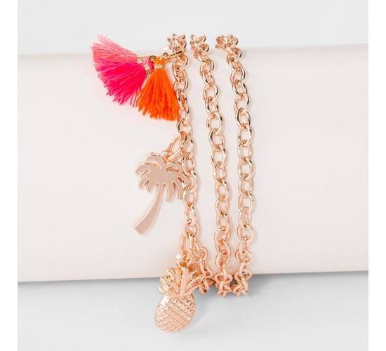 Pineapple, Palm Tree, Tassel and Linear Bar Charm Multi Row Bracelet- Rose Gold