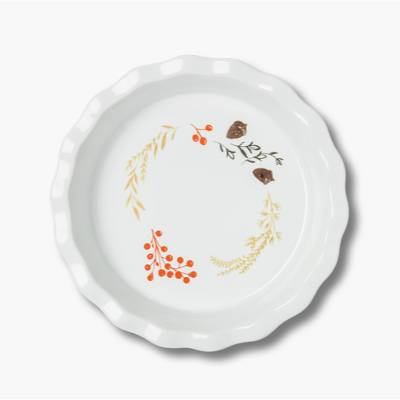 "10.4"" Ceramic Pie Pan White/Orange - Threshold™"