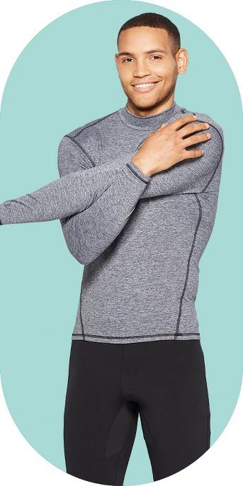 Men's Mock Neck Long Sleeve Compression Top - C9 Champion® Silver Filagree Heather