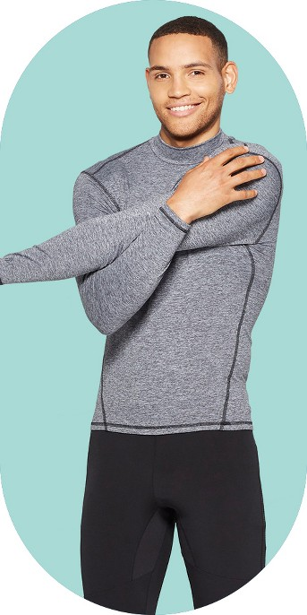 Men's Mock Neck Long Sleeve Compression Top - C9 Champion® Silver Filagree Heather