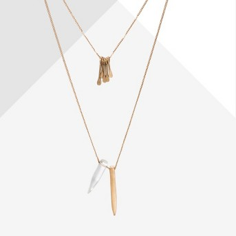 Two Layer with Paddle Cluster and Stone Shard Necklace - Universal Thread™ Gold
