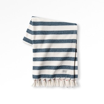 Outdoor Blanket Americana Blue Stripe with Fringe - Hearth & Hand™ with Magnolia