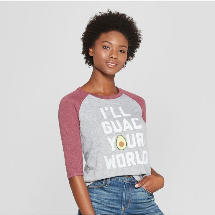Women's 3/4 Sleeve I'll Guac Your World Raglan Graphic T-Shirt - Awake Heather Gray