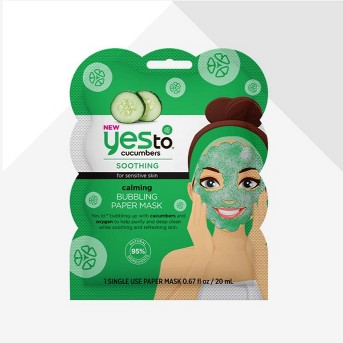 Yes To Cucumbers Calming Bubbling Paper Single Use Face Mask - 0.67 fl oz