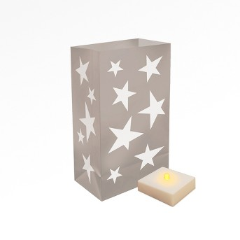 6ct LumaBase Silver Stars LED Battery Operated Luminaria Kit with Timer