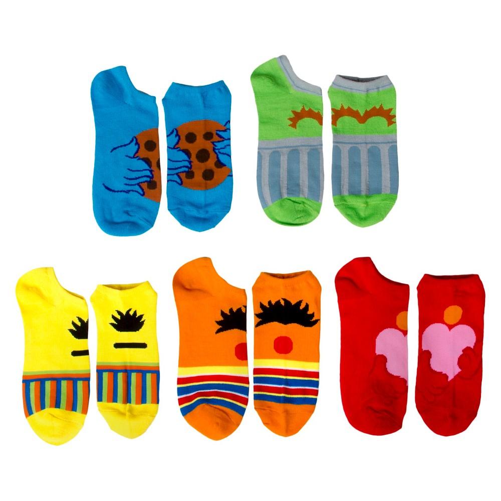 Sesame Street Womens 5-Pack No Show Socks - Multi-Colored 9-11, Multi- Colored