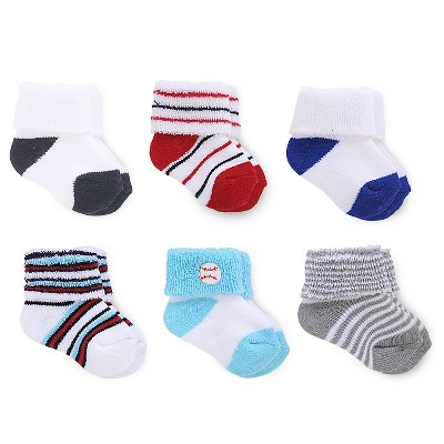 Just One You™ Made by Carter's® Baby Boys' 6pk Ankle Sock - Red/Blue/White 0-3M