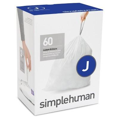 simplehuman Code J Custom Fit Trash Can Liner - 3pk / 20ct