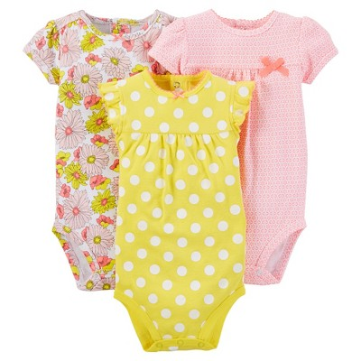 Just One You™ Made by Carter's® Baby Girls' 3pk Bodysuit - Yellow NB