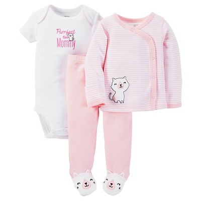 Just One You™ Made by Carter's® Baby Girls' 3pc Striped Bodysuit Set - Pink