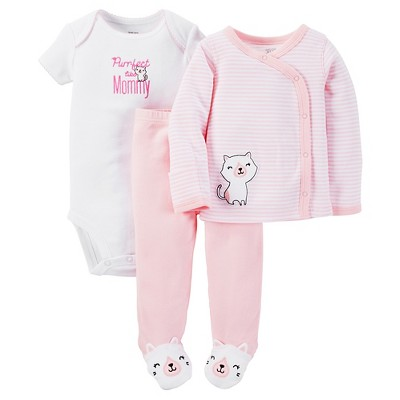 Just One You™ Made by Carter's® Baby Girls' 3-Piece Striped Bodysuit Set - Pink