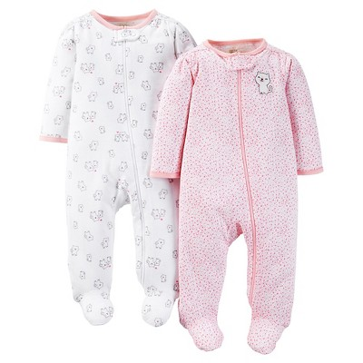 Just One You™ Made by Carter's® Baby Girls' Kitty 2pk Footed Sleeper - Pink 6M