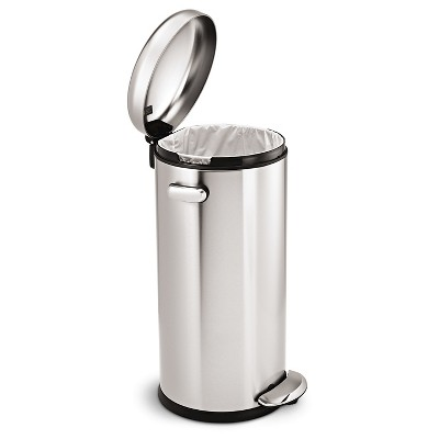 simplehuman 30 liter retro step trash can in brushed stainless steel