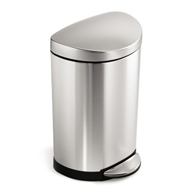 simplehuman® 10 Liter Semi-Round Step Trash Can Fingerprint-Proof Brushed Stainless Steel