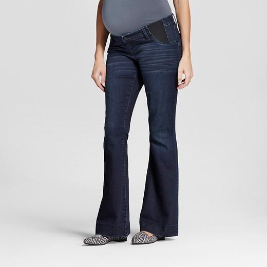Maternity Inset Under the Belly Dark Wash Flare Jeans - Liz Lange ...