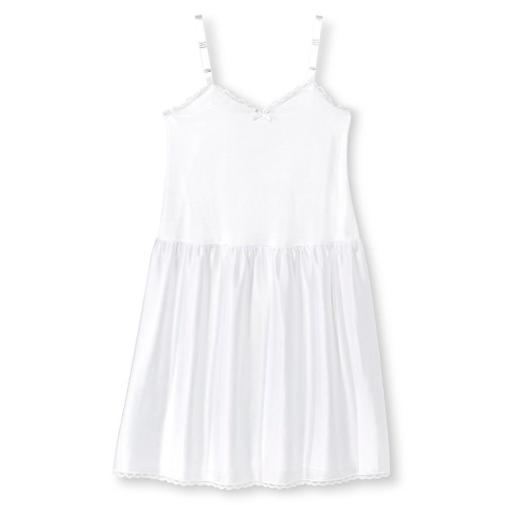 I.C. Collections Girls Adjustable Nylon Full Slip - White 10