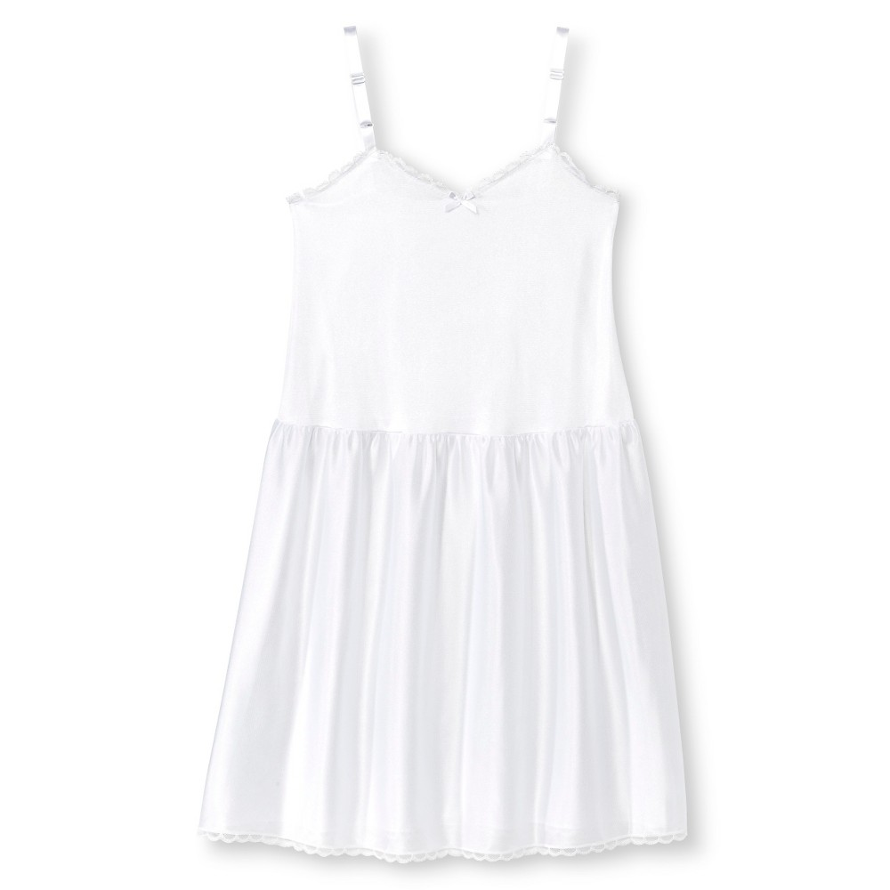 I.C. Collections Girls Adjustable Nylon Full Slip - White 12